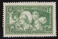 n°269 Caisse d'amortissement 1fr50+3fr50 vert-jaune Neuf* 1931 - Signé Calves