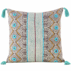 "20"" Maroon Blue Yellow Boho Fringe Tassel Pillow Embroidered Handmade Cushion Co"