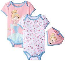 New Disney Cinderella Baby Girls 2 Pack BodySuit With Bib 0-3 Months