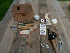 Vintage Antique Fishing Creel Wicker Tackle H-I Bristol Reel Fish Bait Lures