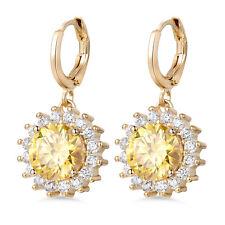 Dangle Sun Flower Daisy Topaz Crystal 18K Yellow Gold Filled Women Hoop Earrings