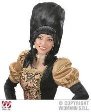 Ladies Black Baroness Wig Regal Queen Dutchess Beehive Tudor Fancy Dress