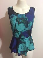 Portmans Peplum Top Boat Neck Blue Green Black Floral Print Zip Formal Tank Flow