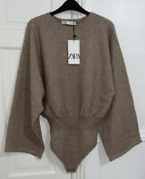 ZARA FW20-21 BROWN CAMEL TEXTURED KNIT BODYSUIT WITH WIDE SLEEVES SIZE M BNWTV