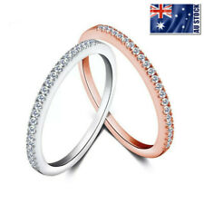Genuine 925 Sterling Silver Simulated Diamonds Wedding Band Knuckle Midi Ring