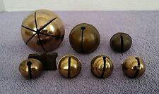 7 Vintage Sleigh Bells Horse Harness Collar Reindeer Brass (For Parts) Craft Lot