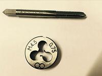 1pc HSS Machine M4.5 X 0.75mm Plug Tap and 1pc M4.5 X 0.75mm Die Threading Tool