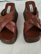 Steve Madden Preowned Brown Leather Chunky Wedge Platform Sandals Size 7