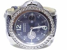 Panerai Luminor Firenze 1860 Stainless Steel 4.00ct White Diamond Bezel Watch