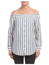 $325NWT DEREK LAM 10 CROSBY Linen Striped Long Sleeve Off The Shoulder Shirt Sz2