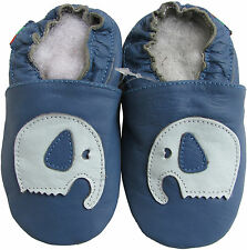 shoeszoo soft sole leather shoes elephant blue 0-6m S1