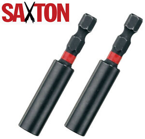 2x Saxton Impact Duty Srewdriver Drill Strong Magnetic Bit Holders 1/4'' Hex