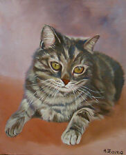 Portrait de chaton gris, peinture originale, huile sur toile, Anne Zamo