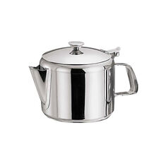 STAINLESS STEEL 24OZ TEA POT COFFEE KITCHEN FLIP LID HANDLE RESTAURANT HOTEL NEW