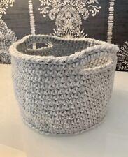 Grey Storage Basket Crochet Handmade Bedroom Bathroom Home Decor Rustic Autumn