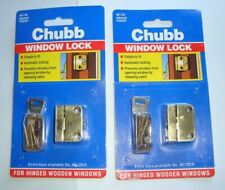 Chubb Window Lock With Key 8K120 Brass Finish For Wooden Windows 2 Packs