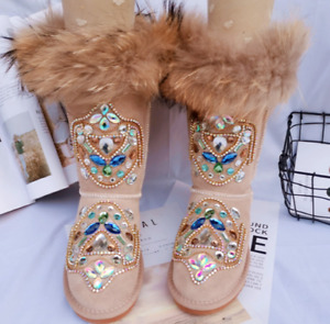 Women's Winter Thick Warm Snow Boots Real Leather Shoes Fox Fur Rhinestone Decor