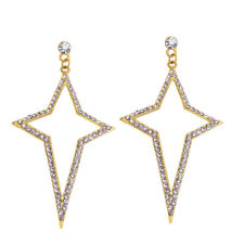 Pave Crystal Star Dangle Earring Yellow Gold Plated Fashion Jewelry Gift for Her