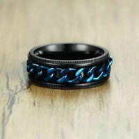Ring 8mm Blue Spinner Chain Band Men's Stainless Steel Wedding Black Size7-13
