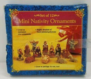 Set of 12 GiftCo Mini Holy Family Nativity Scene Christmas Ornaments