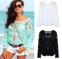 New Crochet White Festival Boho Lace Hippy Long Sleeve Blouse Shirt Beach Top