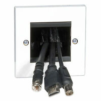 Philex 70435R Single Gang Brush Cable Entry/Exit Plate - LCD/TV Outlet Socket