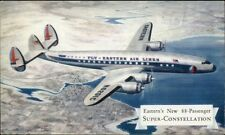 Eastern Airlines Super-Constellation in Flight c1950 Postcard