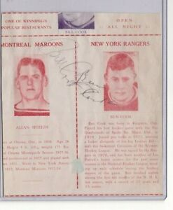 BILL COOK & FRED BUN COOK DUAL SIGNED 1930s AUTOGRAPHED PROGRAM PAGE CUT RANGERS