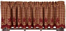 """Country Burgundy Star Layered Lined Valance 16X72 Cotton Check Size 1/2"""""""