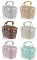 Large Plastic Storage Basket with Lid Carry Handle Box Container Laundry Hamper
