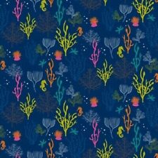 Fat Quarter Ocean Life Colorful Coral On Blue 100% Cotton Fabric