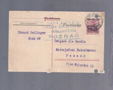 POLAND 1919 POZNAN POSTCARD GERMAN STATIONARY STAMP WITH POLAND O/P