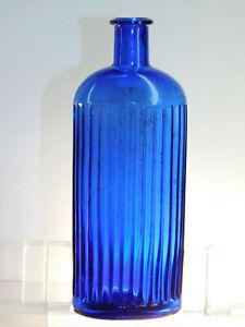 ANTIQUE COBALT BLUE RAISED 14 LINE PICKET FENCE POISON FLAT LIP OLD BOTTLE 1890s