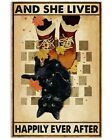 Fall Retro Cat And She Lived Happily Ever After Vintage Wall Poster Unframed