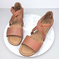 New Supersoft Diana Ferrari 11C 11 Faylinn Leather Sandals Flats Brown Shoes S29