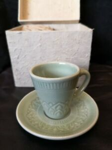 Celadon Set Of 2 Espresso Cups And Saucers + Handmade Gift Box From Recycl.Paper