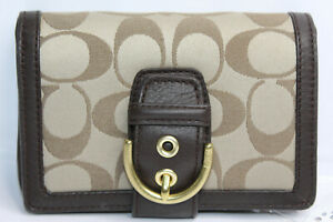 COACH Tan Fabric Brown Leather Signature Buckle Bi-fold Wallet Zippered Coin NWT