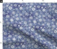 Geometric Shapes Cool Colors White Snowflakes Spoonflower Fabric by the Yard