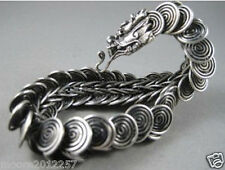 hot Sell! Tibet silver Handcrafted dragon Head Men`s bracelet 8 inches