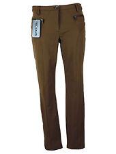 APRIORI Pantaloni 38 VERDE OLIVA marrone elasticizzato 7/8 LUNGHEZZA cotone