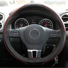 Black PVC Leather Steering Wheel Red Stitch Wrap Needle+Thread DIY Chevy Dodge