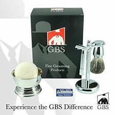 GBS Premium Men's Wet Shaving Kit - Badger Bristles Brush, Chrome Bowl, Soap...
