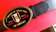 Vietnam Veteran 44th MEDICAL BRIGADE Epoxy Photo  Buckle & Bonded Leather Belt