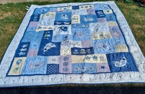 """Pottery Barn Pastel Colors Patchwork Quilt w/ 3 Pillow Shams King Size 86""""x 104"""""""