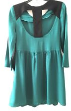 Forever 21 Dress Scoop Neck Open Back Size Extra Small Long Sleeve Green & Black