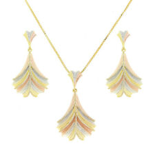 Three-Tone Gold Plated with Clear Cubic Zirconia Necklace Earrings Jewelry Set