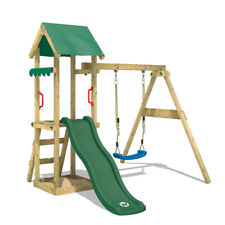 WICKEY Spielturm Klettergerüst TinyWave Garten Schaukel Grüne Rutsche & Dach