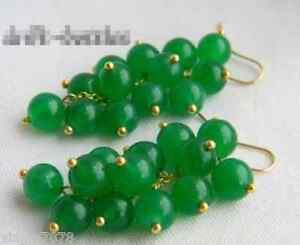 2'' 8MM Green Round Emerald 18K GP Dangle Earring