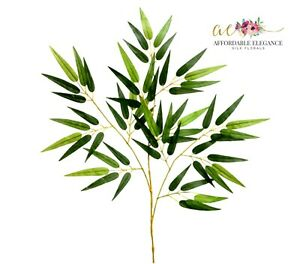 """28"""" Bamboo Leaf Spray Artificial Branch Greenery Fake Faux Silk Leaves Decor"""