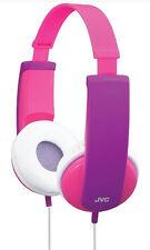 JVC Tiny Phones Travel Headphones for Kids Pink 85dB Safe Sound